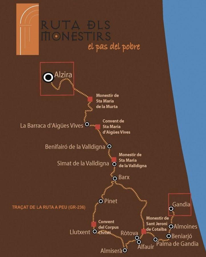 ruta senderismo Valencia monasterios