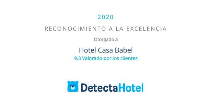 premio Reconocimiento a la Excelencia 2020 que otorga DetectaHotel